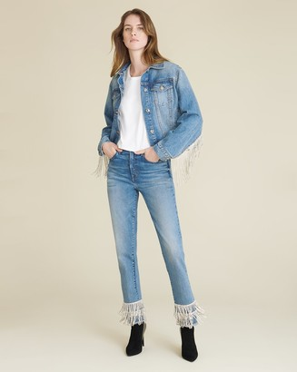 Veronica Beard Ryleigh Rhinestone High-Rise Straight Jean