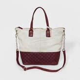 Cesca Women's Large Tote with Quilting Detailing and Detachable Strap - Stone/Wine