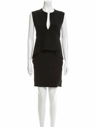 Celine V-Neck Knee-Length Dress Black