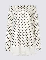 Marks and Spencer Geometric Print Mock Hem Split Sleeve Tunic