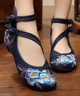 Denim Two-Strap Embroidered Flat
