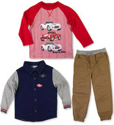 Nannette 3-Pc. Graphic-Print T-Shirt, Shirt and Pants Set, Toddler Boys (2T-5T)
