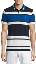 Lacoste Resort Bold-Stripe Polo Shirt, Cosmos/Flour