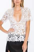 Olivaceous Crochet Peplum Top