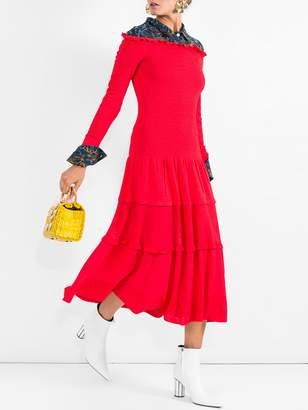 Altuzarra smocked off the shoulder dress red