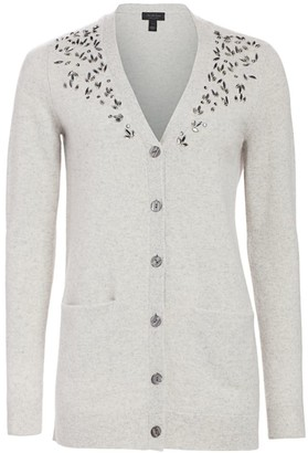Saks Fifth Avenue COLLECTION Embellished V-Neck Cashmere Cardigan