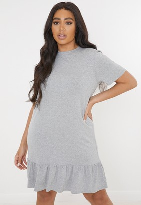 Missguided Plus Size Grey Peplum Hem Jersey Mini Dress