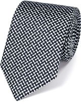 Charles Tyrwhitt White and Navy Silk End-On-End Luxury Tie Size OSFA