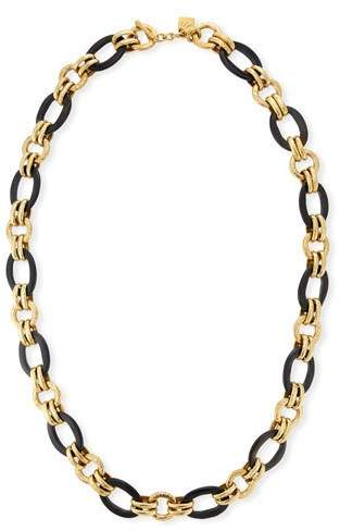 Ashley Pittman Ikulu Dark Horn & Bronze Chain Necklace, 36""
