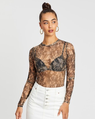 Missguided Snake Print Crew Neck Mesh Bodysuit