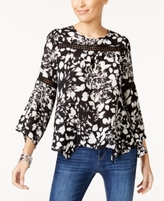 NY Collection Petite Printed Bell-Sleeve Peasant Top