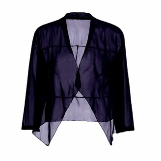 LaoZanA Womens Shrugs Summer Sheer Chiffon 3/4 Sleeve Open Front Cardigan Bolero Jacket Dark Blue XL
