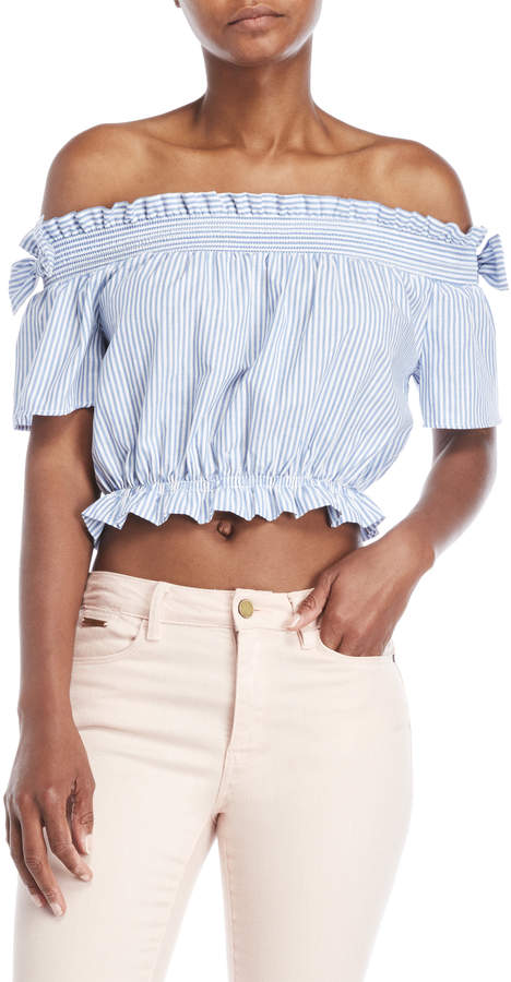 Love Tree Striped Off-the-Shoulder Crop Top