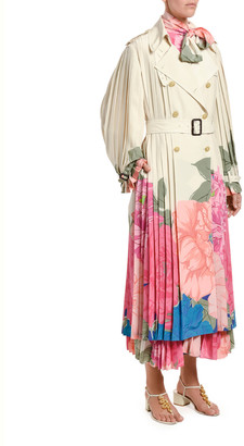 Valentino Floral-Print Pleated Silk Trench Coat