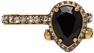 Alexander McQueen Gold Jewelled Two-Finger Ring