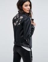 Vila Embroidered Leather Look Biker Jacket