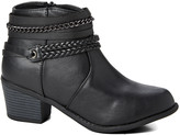 Ameta Women's Casual boots Black - Black Braid & Chain Ankle Bootie - Women