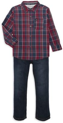 Calvin Klein Jeans Little Boy's 2-Piece Cotton Plaid Shirt & Jeans Set