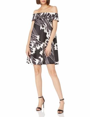 Halston Women's Off Off Shoulder Printed Swing Dress