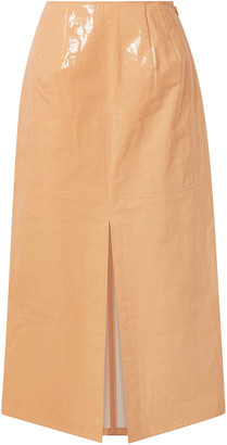 Sally LaPointe Coated Linen-blend Midi Skirt