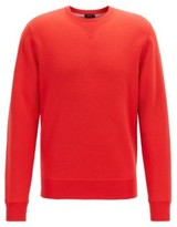 HUGO BOSS - Crew Neck Sweater In A Double Faced Wool Cotton Blend - Red