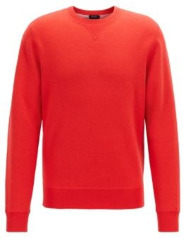 HUGO BOSS Crew Neck Sweater In A Double Faced Wool Cotton Blend - Red