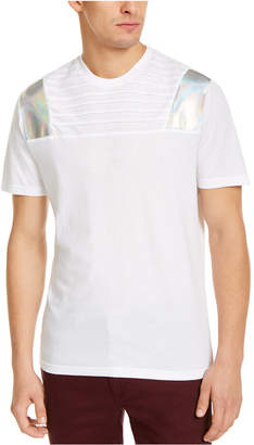 INC International Concepts Inc Men Pintucked Moto T-Shirt with Metallic Faux-Leather Piecing