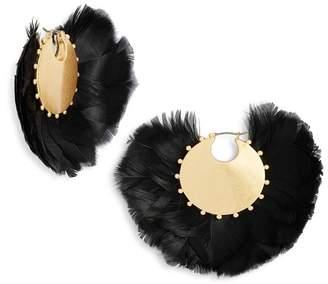 Kate Spade In Full Feather Hoop Earrings