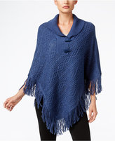Karen Scott Cable-Knit Fringe Poncho, Only at Macy's