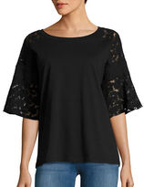 Lord & Taylor Lace Bell Sleeve Top