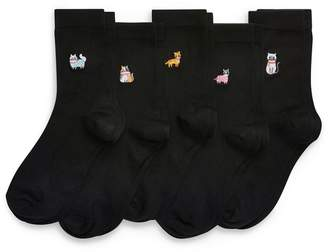 Next Womens Cat Motif Ankle Socks Five Pack - Black