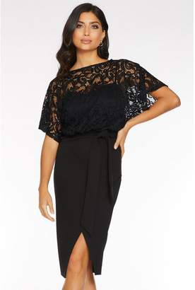 Quiz Black Lace Batwing Midi Dress