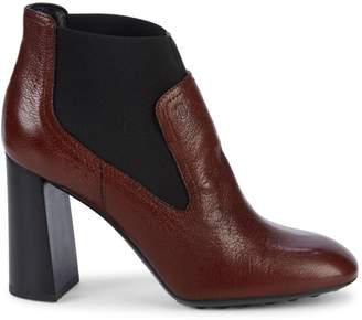 Tod's Gomma Stacked-Heel Leather Booties