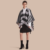 Burberry Reversible Stripe and Check Merino Wool Poncho