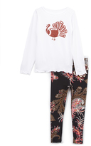 Beary Basics White Football-Turkey Tee & Paisley Leggings - Toddler & Girls