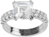 Journee Collection 3 1/5 CT. T.W. Cushion-cut CZ Prong Set Wedding Ring Set in Sterling Silver