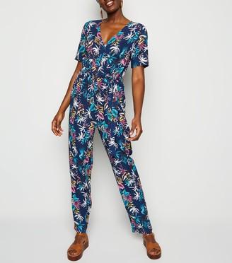 New Look Mela Tropical Print Tie Waist Jumpsuit