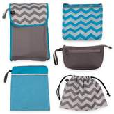 J L Childress 5-in-1 Diaper Bag Organizer in Grey/Teal Chevron