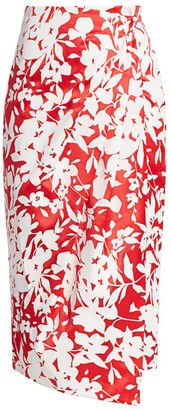 Rosie Assoulin Floral Wrap Midi Skirt