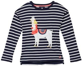 Joules Kids Lorelle T-Shirt (Toddler/Little Kids/Big Kids) (Navy Llama) Girl's Clothing