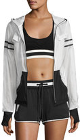 Blanc Noir Moonlight Zip-Front Performance Jacket, White/Black