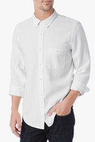 7 For All Mankind Long Sleeve Textured Oxford Shirt In White