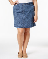 Karen Scott Plus Size Printed Chambray Skort, Only at Macy's
