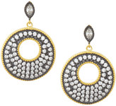 Freida Rothman Round Pave Crystal Drop Earrings