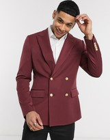 Asos Design DESIGN skinny double breasted blazer with gold buttons in burgundy