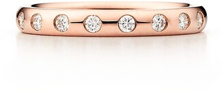 Tiffany & Co. Elsa Peretti stacking band ring in 18k rose gold with eight diamonds