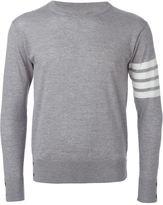 Thom Browne Crewneck Pullover With 4-Bar Stripe In Light Grey Merino