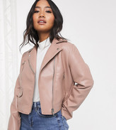 Asos DESIGN Petite ultimate faux leather biker jacket in pink