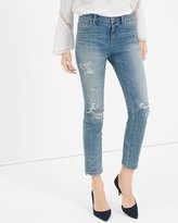 White House Black Market Destructed Straight Crop Jeans