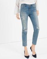 White House Black Market Destructed Straight Crop Jeans